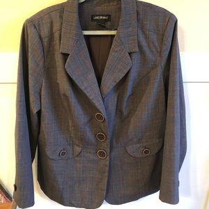 Lane Bryant blazer size 22 gray-brown 3 button